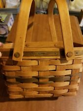 Longaberger Basket With Handles, Two Toned With Green Stripes 1992