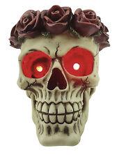 Totenkopf mit Rosenhaarkranz Rosenkranz Figur Totenschädel Schädel Skull m. Led