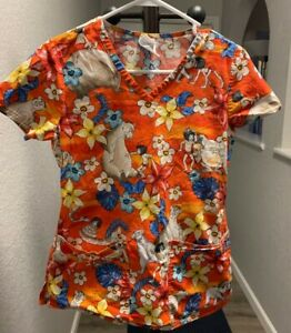 Scrub Top Disney The Jungle Book Floral Tropical Orange, XS, 3 pocket
