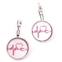 2x orecchini bigiotteria TRACCIATO CUORE orecchino cardiologa regalo infermiera