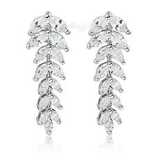 CZ Zircon Wheat Drop Dangle Earrings 18k White Gold GP Women Gift E528