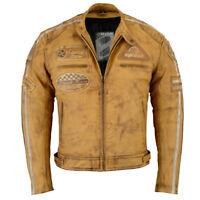 Blouson Veste En Cuir Moto Homme Vintage Cafe Racer Leather Jacket Biker Jacket.