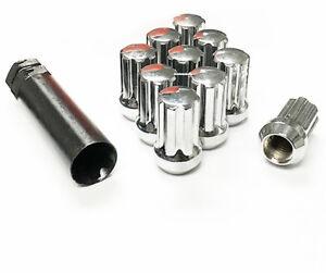 24 Chrome Short 7 Spline 14x1.5 Truck Locking Lug Nuts Chevy Gmc Toyota Cadillac