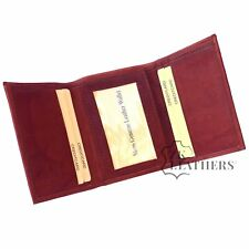 Mens REAL Sheep Leather Trifold Wallet   Thin Slim Small   Brown ID Card Holder