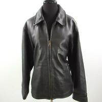 Eddie Baurer Leather Bomber Jacket Womens Medium Legend Cotton Lined Brown