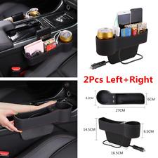 1 Pair Car Seat Side Gap Organizer Storage Box PU Leather Cups Holder Dual USB