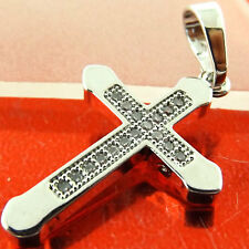 Diamond Simulated Cross Real 18k White G/F Gold Solid Mens Ladies Unisex Design