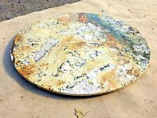 runde Naturstein Tischplatte gelb-grün Bistroplatte Granitplatte Marmor Stein