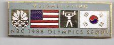 1988 NBC Seoul Olympic Guest Pin Weightlifting Press Media US Korea Flag Gray
