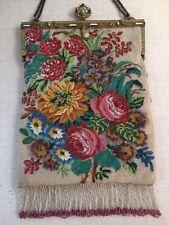 Antique MICRO Beaded Handbag Purse JEWELED JADE CORAL ENAMEL FRAME SCENIC ROSES