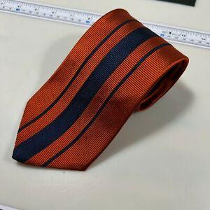 Tommy Hilfiger Men's Orange Striped 100% Silk Necktie Handmade