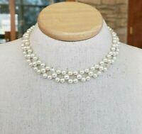 Vtg Fx Pearl Bead Beaded Borealis Choker Necklace Silver Tone Collar
