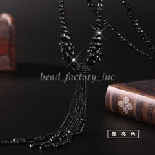 Fashion Women Jewelry Long Tassel Sweater Chain Glass Crystal Beads Necklace