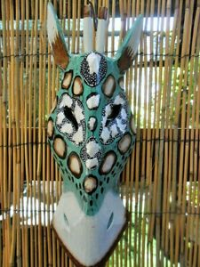 Giraffe Head Wall Mask - wall hanging (green & white tones) hand crafted x 30cm