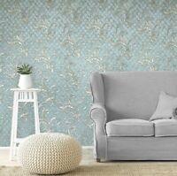 Green Wallpaper diamonds brass gold metallic victorian Damask Wallcoverings 3D