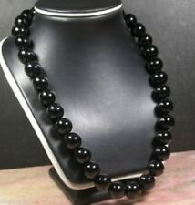 huge-12mm-Black-AGATE-JADE-Bead-Beaded-Necklace-20-inch     huge-12mm-Blac