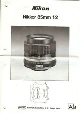 Instruction User's Manual Nikon Nikkor 85mm f/2