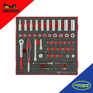 Teng Tools - 1/4 Drive Socket and Bit Set Ratchet - 89 Piece - TED1489