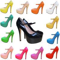 Womens Patent Party High Heels Platforms Stilettos Pumps Court Shoes Size Uk 2-9