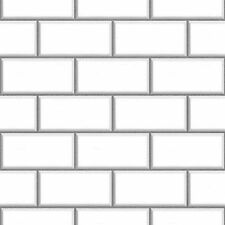 Fine Decor FD40136 Luxury White Cermica subway Brick Tile Effect Vinyl Wallpaper