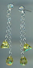 925 Sterling Silver Cubic Zirconia Yellow Drop / Dangle Earrings   Length 1.5/8""