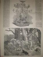 Woodcock shooting 1850 old print and article