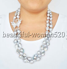 Z8201 2Strds 19mm Gray Drop BAROQUE KESHI PEARL CZ Butterfly NECKLACE 24inch