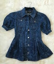BNWT Authentic CHANEL Camellias Print Short Sleeves Blue Denim Jacket Size 36