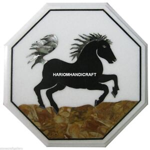 Marble Side Table Inlaid Garden Handmade Horse Design Pauashell Decoration H4417