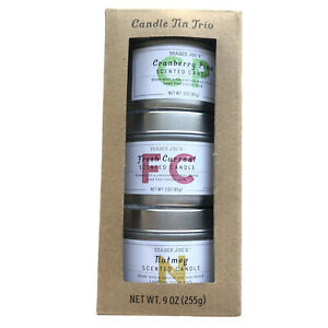 Trader Joe's Candle Tin Trio Scented Nutmeg Fresh Currant Cranberry Pine Gift
