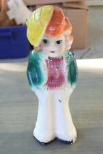 """Antique Art Deco Girl Ceramic Pottery Clay Figure Stature Hand Painted 15.5"""""""