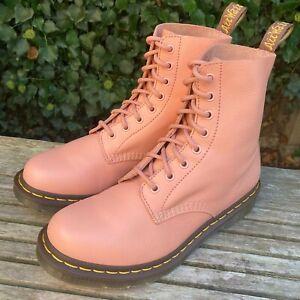 Dr MARTENS 1460 Pascal Salmon Pink Virginia Soft Leather Boots UK 7 EU 41 US 9 L