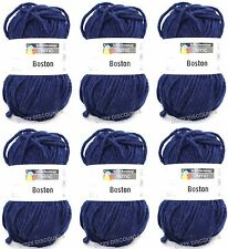 Schachenmayr BOSTON 6x 50g CHUNKY WOOL Knitting Crochet Yarn | 54 NAVY BLUE