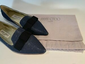 Jimmy Choo Blue Gala Glitter Ballerina Flats Pointed - Toe (Authentic) Size 37