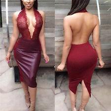 Abito cono aperto ecopelle pizzo ricamato nudo faux leather Lace Bodycon dress S