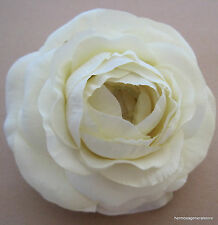 "3 1/2"" Cream White Ranunculus Silk Flower Hair Clip,Wedding,Prom,Dance,Bridal"