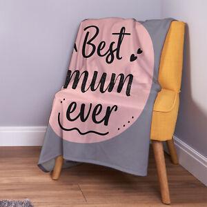 Best Mum Ever Grey & Pink Design Soft Fleece Throw Blanket Mother's Day Gift
