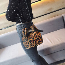 Women Leopard Print PU Shoulder Strap Bucket Bag Handbag Messenger Bag Purse