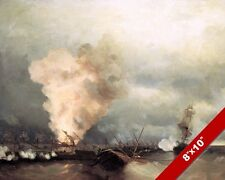 RUSSIAN NAVY VICTORY AT VYBORG RUSSIA SEASCAPE PAINTING ART REAL CANVAS PRINT