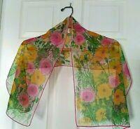 Vera Neumann Silk Rectangle Scarf Ladybug Floral Pink Green Yellow Sheer VTG