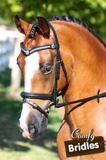 New Leather Horse Bridle 3 row crystal V, Raised Converter Crank, Black/Havana