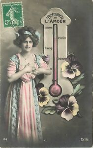 c1913 Tinted RPPC Girl & Large Thermometer, French Love Tester, All Her Heart