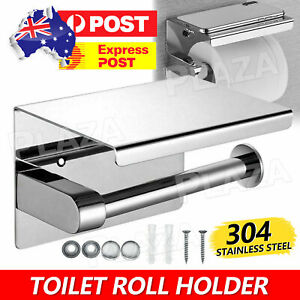 304 Stainless Steel Toilet Roll Holder Paper with Shelf Bathroom Wall Mounted AU