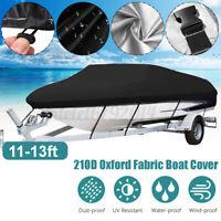 11-13ft Heavy Boat Cover 210D Waterproof Trailerable V-Hull Marine Speedboat