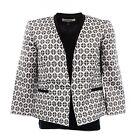 [17 20-1]NEW Kasper Black Diamond Jacquard Womens Petite Jacket White 2P White