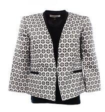 1721 NEW Kasper Black Diamond Jacquard Womens Petite Jacket White 12P White