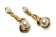 9ct Gold Fancy Pearl dangly drop earrings Made in UK Gift Boxed