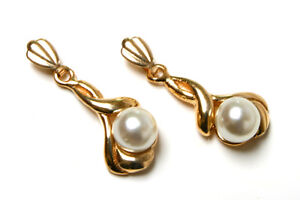 9ct Gold Pearl drop earrings Made in UK Gift Boxed
