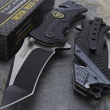 """7.5"""" SNIPER SPRING ASSISTED BLACK TACTICAL FOLDING KNIFE Pocket Blade Open"""