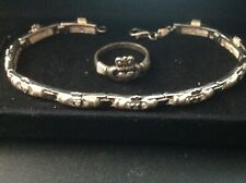 """Claddagh Bracelet 7.5"""" with matching ring Vintage New Old Stock Sterling Silver"""